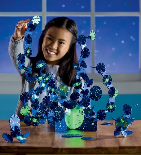 Connectagons Celestial Creative Building Set, Wood – Blue Glow-in-the-Dark – Set of 157 pieces