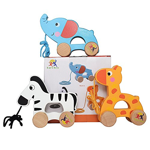 Ray's Toys Wooden Pull Along Toy, Set of 3, Giraffe, Elephant and Zebra