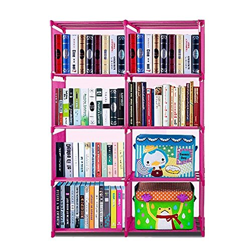 Corgy DIY Stair Shape Bookcase 8-Cube Storage Closet Organizer Home Toy Shelf CD Rack, Pink(US STOCK)