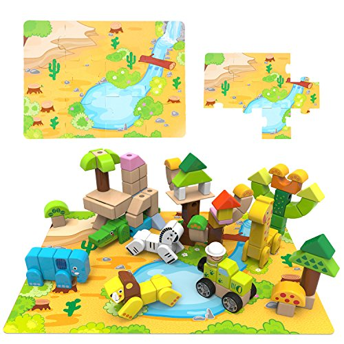 Forest Animal Building Block – iPlay, iLearn Wood Connecting Blocks Forest Animal Building Block Set
