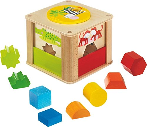HABA Zookeeper Wooden Shape Sorting Box with a Twist – Explore Whole and Half Shapes – 12 Months +