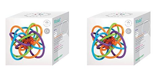 Manhattan Toy Winkel Rattle and Sensory Teether KrNByU Activity Toy, 5L x 3.5H x 4W-Inch, 2 Units