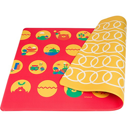 Lollaland Play Mat Foam Floor – Non-Toxic BPA-Free Non-Slip Reversible Waterproof – Red/Yellow