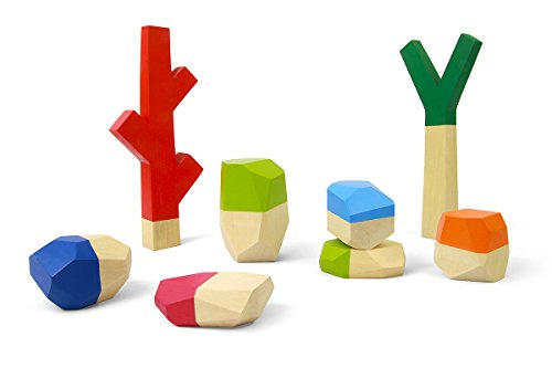 Water and Lightning's Sticks and Stones – Handmade Children's Wooden Nature Stacking Blocks (8 pc)