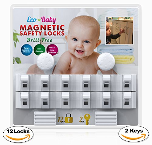 Baby & Child Proof Cabinet & Drawers Magnetic Safety Locks Set of 12 with 2 Keys By Eco-Baby – Heavy Duty Locking System with 3M Adhesive Tape Easy To Install Without Damaging Your Furniture