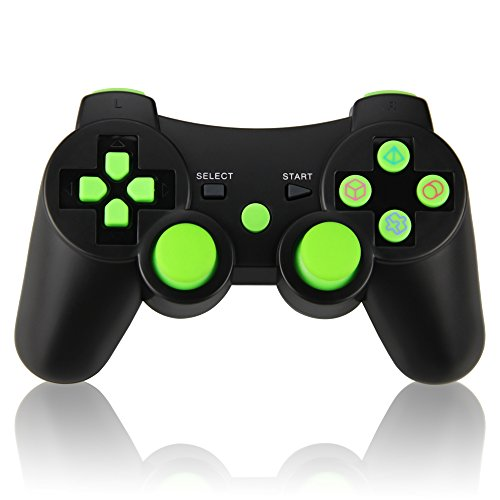 Wireless Double Vibration Controller for PS3, Bluetooth Sixaxis Gamepad Remote for Sony PS3 Playstation 3 (Green)