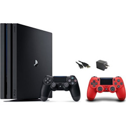 PlayStation 4 Pro Console 3 items Bundle: PS4 Pro 1TB Console, PS4 Dualshock 4 Wireless Controller Red, Mytrix Wal Charger Black