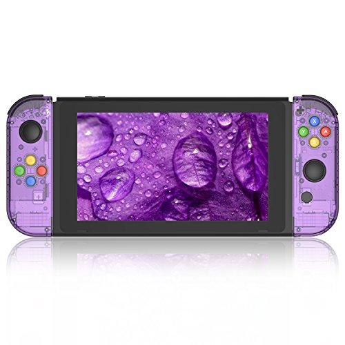 BASSTOP Portable DIY Replacement Housing Shell Case for Right Left Switch Joy-Con Controller without Electronics (Joycon-Atomic Purple)