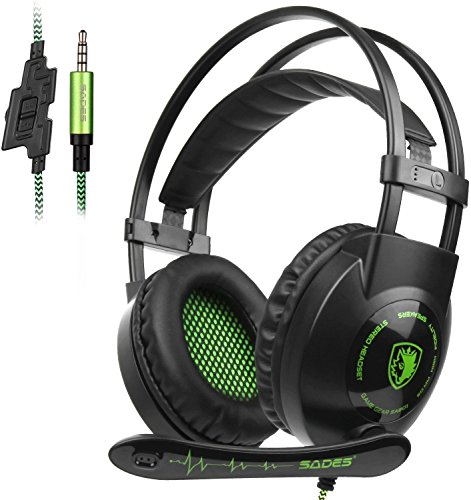 sades sa801 over ear stereo gaming headset with microphone noise isolation -