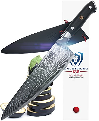 DALSTRONG Chef's Knife – Shogun Series X Gyuto – Japanese AUS-10V – Vacuum Treated – Hammered Finish – 8″ – w/ Guard