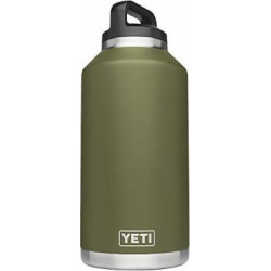 YETI Rambler 64oz Vacuum Insulated Stainless Steel Bottle with Cap, Olive Green DuraCoat