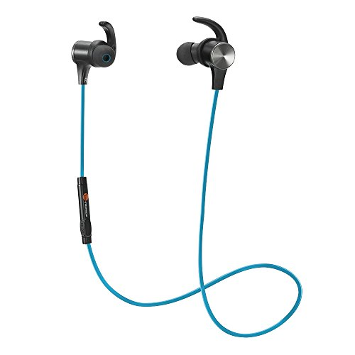 Bluetooth Headphones, TaoTronics Wireless 4.2 Magnetic Earbuds, Snug Fit for Sports with Built in Mic TT-BH07 Blue (IPX6 Waterproof, aptX Stereo, 6 Hours Playtime, cVc 6.0 Noise Cancelling Microphone)