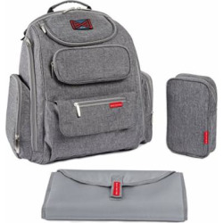 Bag Nation Diaper Bag Backpack with Stroller Straps, Changing Pad and Sundry Bag – Grey