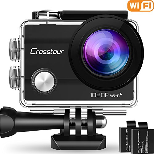 Crosstour Action Camera Underwater Cam WiFi 1080P Full HD 12MP Waterproof 30m 2″ LCD 170°Wide-angle Sports Camera with 2 Rechargeable 1050mAh Batteries and Mounting Accessory Kits