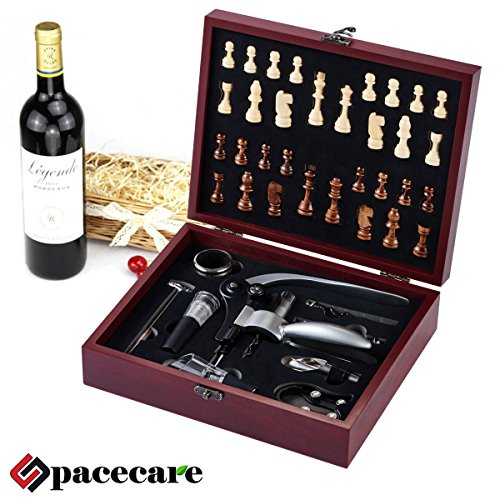 SPACECARE Wine Opener Kit with Chess,Red Wine Beer Bottle Opener Wing Corkscrew,Aerator, Thermometer, Stopper, and Accessories Set with Dark Cherry Wood Case – 10 Piece