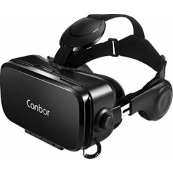 Canbor VR Headset, Virtual Reality Headset 3D VR Goggles Glasses with HD Stereo Headphones FOV 120 for 4.7-6.2 Inches Apple iPhone, Samsung HTC More Smartphones