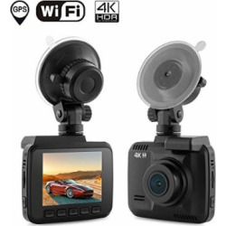 Dash Cam Car DVR Dashboard Camera Recorder with Built-In WiFi & GPS, 4K FHD, APP Support, G-Sensor, 2.4″ LCD, 150 Degree Wide-Angle Lens, Loop Recording, Great Night Vision, Parking Monitor