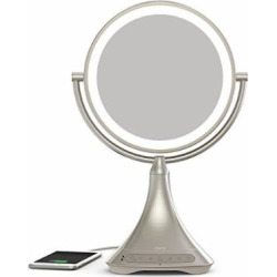 iHome All-In-One, 7X MAGNIFY, 9″ 2-Sided LED Makeup Mirror, Bright LED Light Up Mirror, Natural Light, Double-sided Vanity Mirror, Hands-Free Bluetooth Speakerphone, Bluetooth Audio & Phone Charger