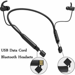 Neckband Headphones Wireless Bluetooth Headset Stereo Noise Cancelling Microphone Earbuds with USB Data Cord In One for Cell Phones Ios Android PC TV Best Music Earphones(black)