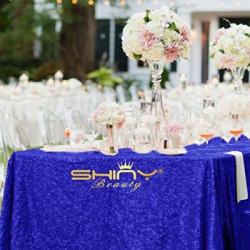 ShinyBeauty 60inx102in Sequin Tablecloth For Wedding/Party– (Royal Blue)