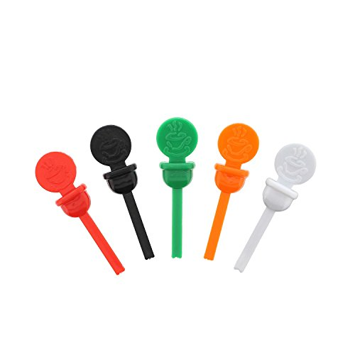 StixToGo Variety Pack Circle Beverage Plug for Disposable Lids, Red, Green, Orange, Black & White, Case of 2000