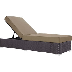 convene outdoor patio chaise lounge in espresso mocha brown modway -