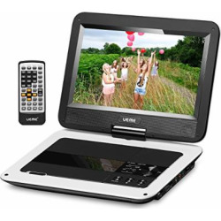 UEME 10.1″ Portable DVD Player CD Player with Car Headrest Holder, Swivel Screen Remote Control Rechargeable Battery Car Charger, Personal DVD Player PD-1010 (White)