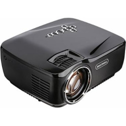 Projector, HAUSBELL 1500ANSI Lumens LED Luminous efficiency Mini Portable Video Projector for Outdoor Indoor Movie/Home Theater/Game, HDMI VGA USB AV SD Support