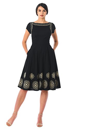 eShakti Women's Graphic Floral Embellished Poplin Dress 2X-20W Regular Black/Beige