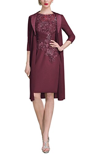 AlisaBridal Women's Spring High Neck Knee-Length Chiffon Lace Bodice Mother Of The Bride Dress With Jacket Formal Dress Cabernet 18w