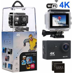 Action Camera, Amuoc 4K WiFi Ultra HD Waterproof Sport Camera with 12MP 170 Degree Wide-Angle Lens and 2 PCS Rechargeable Battery, Including Waterproof Case and Full AccessoriesKits