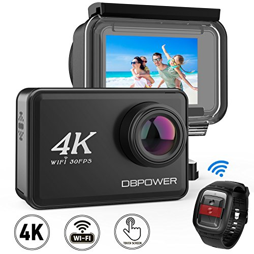 DBPOWER D5 Native 4K EIS Action Camera 2″ LCD Touchscreen 14MP WiFi Waterproof Sports Camera with 4K 30fps Video and 170° Wide-Angle Lens 2.4GHz Remote Control 2 Pcs Rechargeable Batteries
