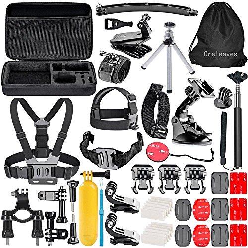 Greleaves 50 in 1 Accessories Bundles Kit with Case for Gopro Hero 4 Session,Gopro Hero 4 Black, Gopro Hero 4 Silver,Gopro Hero 4/3+/3/2/1 Camera Accessory Kit for SJ4000 SJ5000 SJ6000