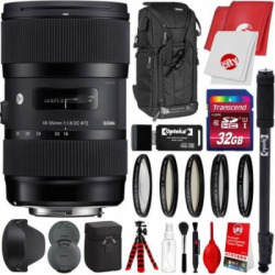 Sigma 18-35mm F1.8 Art DC HSM Lens for Nikon DSLR Cameras w/ 32gb Pro Photo and Travel Bundle
