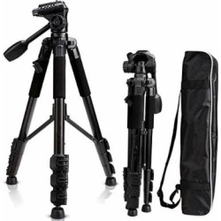 Camera Tripod 57″, Professional 1/4″ Aluminum Camera Tripod Stand, Travel Camera Tripod for DSLR Camcorder Canon Sony Nikon Olympus with Carry Bag -8.8 lbs(4kg) Load ( Black)