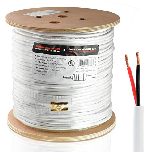 Mediabridge 12AWG 2-Conductor Speaker Wire (500 Feet, White) – 99.9% Oxygen Free Copper – UL Listed CL2 Rated for In-Wall Use (Part# SW-12X2-500-WH )