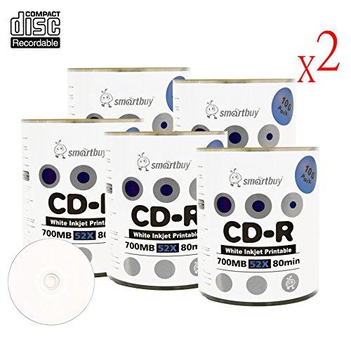 Smartbuy 700mb/80min 52x CD-R White Inkjet Hub Printable Blank Recordable Media Disc (1000-Disc)
