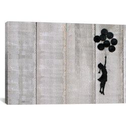 Flying Balloons Girl by Banksy Canvas Print (12″x 18″), Black Gray Multicolored