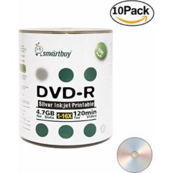 Smartbuy 1000-disc 4.7gb/120min 16x DVD-R Silver Inkjet Hub Printable Blank Recordable Media Disc