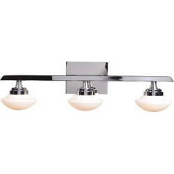 Atomiser Led 3-Light Vanity Light – Chrome – Opal Glass Shade, Grey