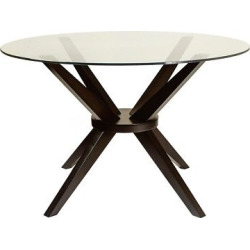 Bianca 48 In. Round Dining Table with Glass Top – Coffee (Brown) – Aeon