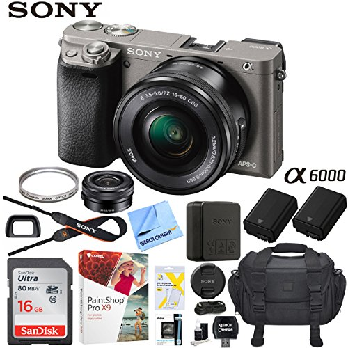 Sony Alpha a6000 Mirrorless Digital Camera 24.3MP SLR (Black) w/16-50mm Lens ILCE-6000L/B with Extra Battery Case 16GB Memory Deluxe Pro Bundle (Essential 16GB Kit, Grey)