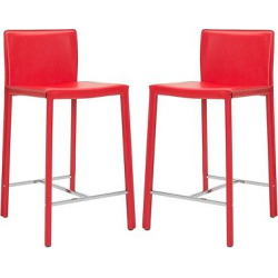 Jason 24 Counter Stool Iron/Red (Set of 2) – Safavieh