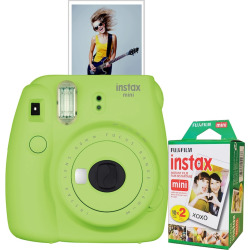 Fujifilm Instax Mini 9 Instant Camera Bundle, Lt Green