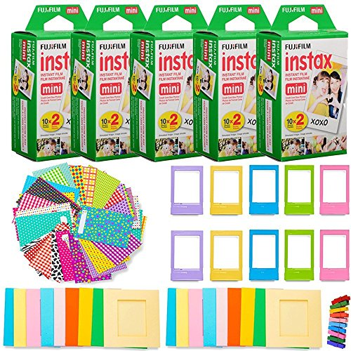 Fujifilm Instax Mini Instant Film (5 Twin Packs, 100 Total Pictures) + 120 Sticker Frames + 10 Plastic Desk Frames + 20 paper frames + Micro-fiber Cleaning Cloth