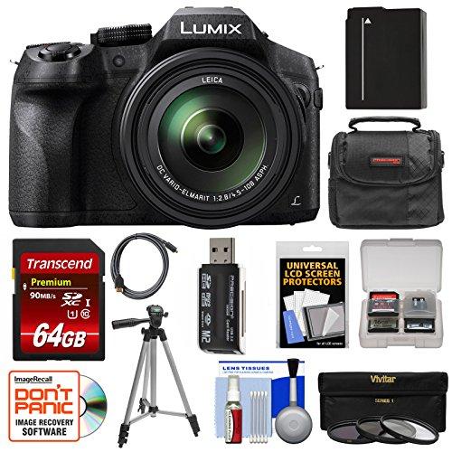 Panasonic Lumix DMC-FZ300 4K Wi-Fi Digital Camera with 64GB Card + Battery + Case + Tripod + 3 Filters + Kit