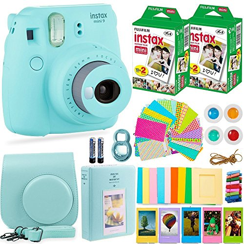 Fujifilm Instax Mini 9 Instant Camera + Fuji Instant Film (40 Sheets) + Accessories Bundle – Carrying Case, Color Filters, 2 Photo Albums, Assorted Frames, Selfie Lens + MORE (Ice Blue)