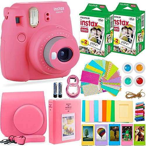 FujiFilm Instax Mini 9 Instant Camera + Fuji Instax Film (40 Sheets) + Accessories Bundle – Carrying Case, Color Filters, Photo Album, Stickers, Selfie Lens + MORE (Flamingo Pink)