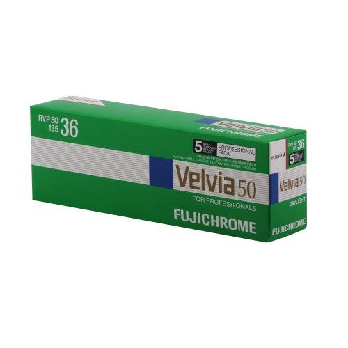Fujifilm 16329173 Velvia 50 Color Slide Film ISO 50, 35mm, 5 Rolls of 36 Exposures (Green/Blue/White)