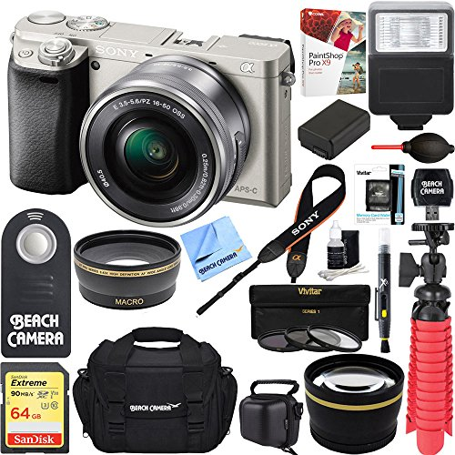 Sony Alpha a6000 Mirrorless Digital Camera 24.3MP SLR (Black) w/16-50mm Lens ILCE-6000L/B with Extra Battery Case 16GB Memory Deluxe Pro Bundle (Executive 64GB Kit, Silver)